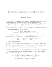 Homework 5 Solution on Probability I Spring 2015