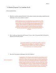 Swift Discussion Questions Pdf Britz 1 A Modest Proposal By