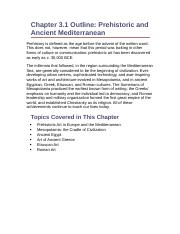 Chapter 3.1 Outline- Prehistoric and Ancient Mediterranean