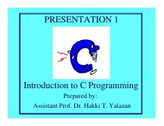 Introduction to Programming Presentation 1