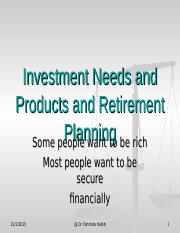 unit 6 ppt investment needs products and retirement planning