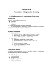 Foundations of Engineering Economcis Lecture
