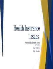 HCS 522 Health Insurance Issues