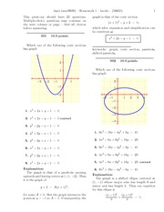 Conic Sections & Vectors with Answers