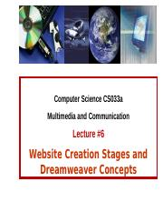Lecture 6 - Website Creation Stages