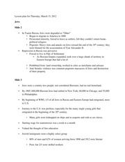 Lesson plan for Thursday, March 15, 2012 Jews