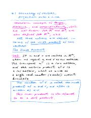 NOTES for Math-250 Sect.-6.1 Geometry of Vectors and Projection onto a Line