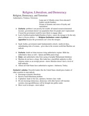 Religion Liberalism and Democracy Study Guide Exam 3