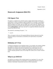 Chi-Square, T-Test and ANOVA Homework Assignment