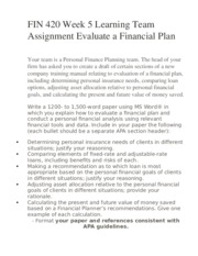 FIN 420 Week 5 Learning Team Assignment Evaluate a Financial Plan
