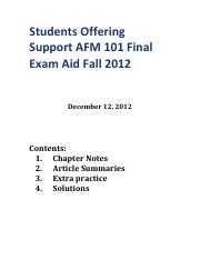 Students Offering Support AFM 1 01�Final Exam Aid�Fall 2012