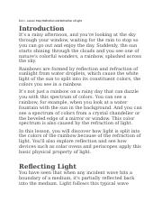 8.2.1 - Lesson Map - Reflection and Refraction of Light