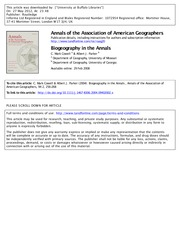Cowell and Parker. 2004. Biogeography in the Annals