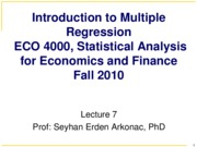 Lecture 7  Prof. Arkonac's Slides (Ch 5.3 - Ch 6.3) for ECO 4000