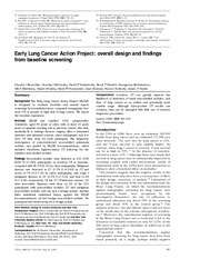 Research_Early lung cancer action project_Henschike 1999