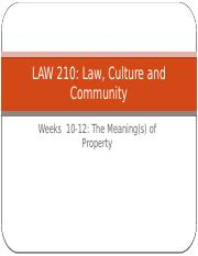Law, Culture and Community Week 10-11