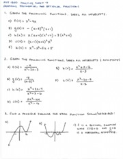 Practice Sheet 7 Graphing Poly and Rat Functions and Answer Key