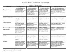 grading rubric for written assignments