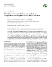 Electrical and Thermal Performance Analysis for a Highly Concentrating Photovoltaic-Thermal System.p