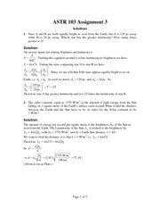 ASTR 103 Fall 2012 Assignment 3 Solutions