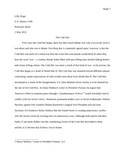 History Paper--The Cold War