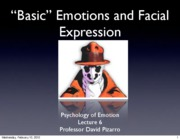 Emotion Lecture 6 2010 Basic Emotions