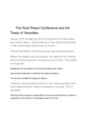 The Paris Peace Conference and the Treaty of Versailles