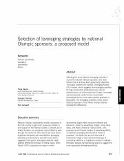 Selection of Leveraging Strategies by National Sponsors - a proposed model