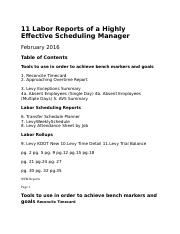 11 Labor Reports of a Highly Effective Scheduling Manager.docx