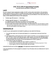 Lab 5 - Sub and function procedures Introduction