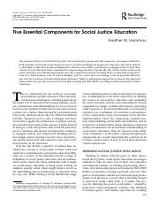 Five Essential Components for Social Justice Education