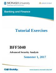 BFF5040 S1 2017 Tutorial Questions Topic 4 Week 5