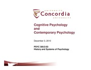 Class 25-Cognitive Psychology and contmporary psychology