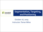 Oct 16 - Segmentation, Targeting, and Positioning
