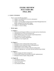 Exam 1 Review - ACCT 4310 - 001 - Fall 2011