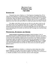 Antitrust Law syllabus fall 2009