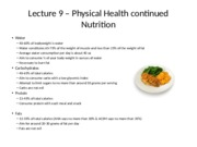 Lecture 9- Physical Health - Nutrition