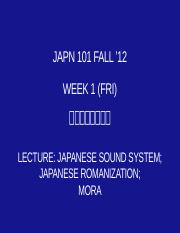 101 W01-2F Lecture L0, Japanese Sound System(1)
