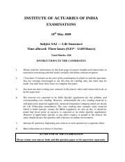 (www.entrance-exam.net)-Institute of Actuaries of India-Subject SA2- Life Insurance Sample Paper 6.p