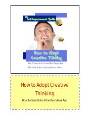 4 - How to Adopt Creative Thinking