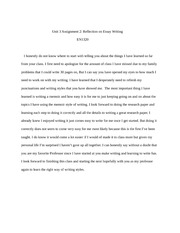 EN1320 Unit 3 Assignment 2 Reflection on Essay Writing
