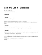 Math 149 Lab 4 Exercises