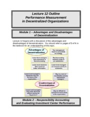 ACCT 226 online lecture #12 filled out (Prof Fergusson) - Performance Measurements in Decentralized