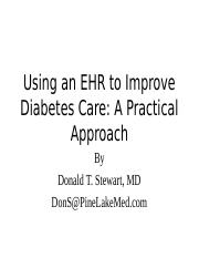 Using an EHR to Improve Diabetes Care