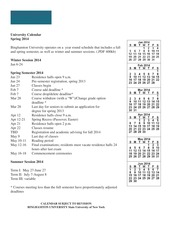 Binghamton University Calendar 2019 2014   University Calendar Spring 2014 Binghamton University