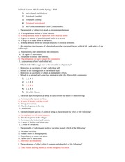 Political Science Exam 1- Fall 2013