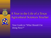 A Year of Ag. Teaching