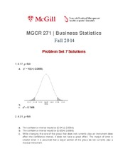 MGCR 271 Fall2014 Problem Set 7 Solutions