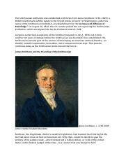 The Smithsonian Institution was established with funds from James Smithson.docx