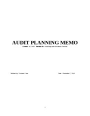 Audit planning memo audit planning memo course acc403 section no audit planning memo audit planning memo course acc403 section no auditing and assurance services written by victoria crow date december 7 2010 1 thecheapjerseys Choice Image